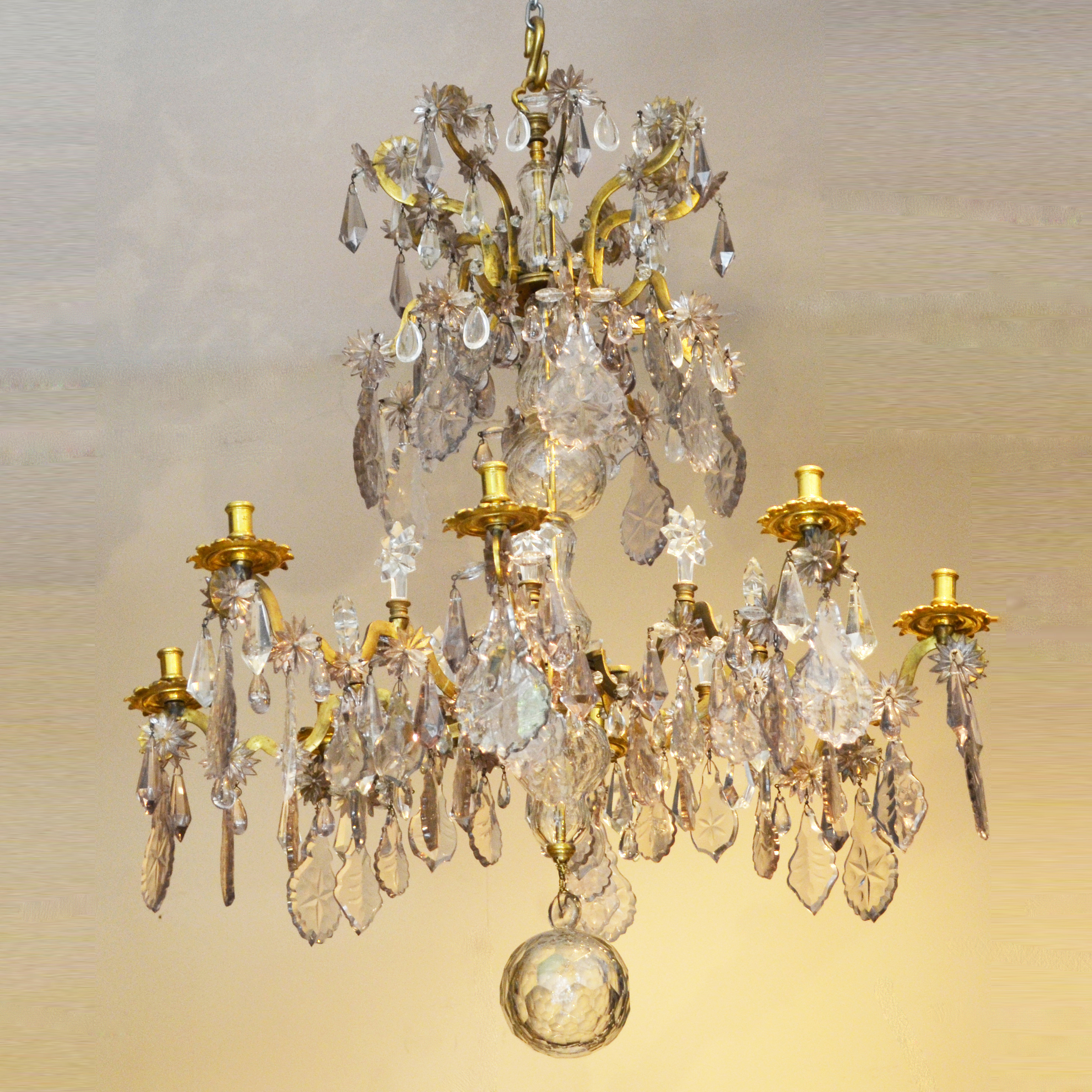 Louis xv gilt bronze and glass chandelier robin martin antiques louis xv gilt bronze and glass chandelier aloadofball Gallery