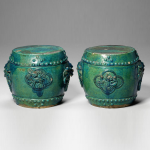 Chinese pair turquoise stools
