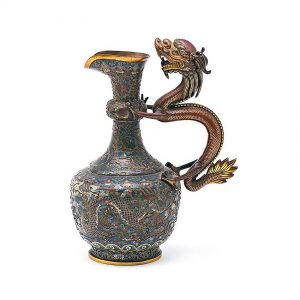 A Chinese Cloisonne Dragon-Handled Ewer