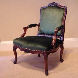 8155 Louis XV walnut fauteuil