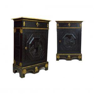 Pair of French Ebony Cabinets Angle Main