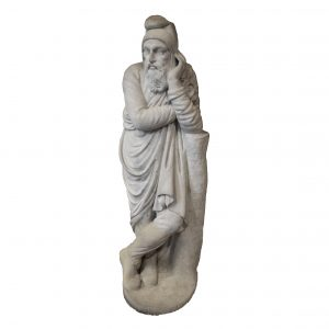 Italian Marble Standing Figure Front White Background